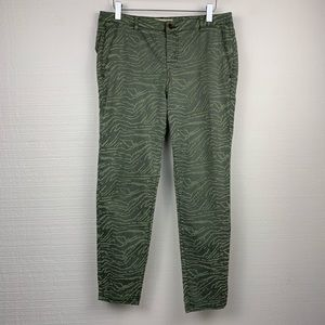 Zara Green Camo Print Textured Skinny Jeans